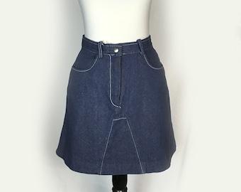 Vintage Bobbie Brooks Jean Skirt, Denim, Mini Skirt, Denim Skirt, 1970's, Small