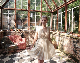 One of a Kind Art Deco Fairy Wedding Dress in Silk Chiffon and Battenburg Lace by Louise Black