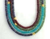 Color Block - Iolite, Garnet & Apatite Four Strand Necklace in 22kg vermeil...