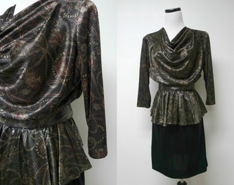 In Cinq . 80s 90s peplum dress . size 10 . made in USA