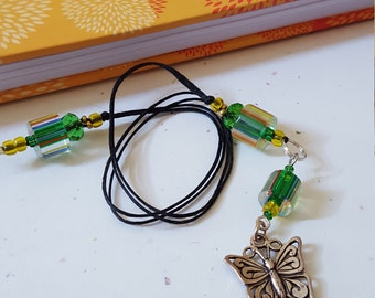 Beaded Butterfly Bookmark  / Green And Yellow Glass Beaded With Metal Charm/ Handmade Gift Idea For Readers/ Book Lovers/Journal Writers