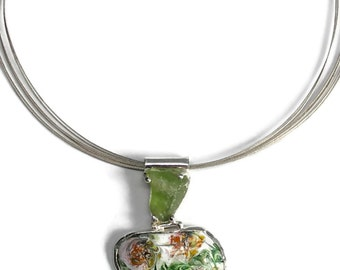 Enameled Statement Necklace with Rough Peridot and Carnelian,  Enamel Necklace, Flower Necklace, Green and Orange, Styleized Van Gough