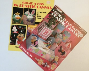 Plastic Canvas Patterns - Projects for Baby and Gimme a Kiss Leaflets by Leisure Arts