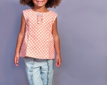 Girl's Top Pattern - Cap Sleeve Tunic Top Pattern for Girls - A Line Top Pattern PDF