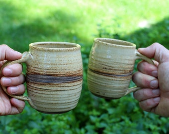 Two Ceramic Mugs with Speckled Eggshell Glaze - Handmade Pottery Mugs - Wheel Thrown Ceramics