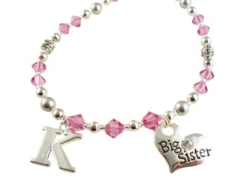 Big Sister Necklace with Initial heart Charm - pink or choose colors// Big Sister Jewelry Gift, new baby, shower, little sister