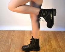 size Us 7.5 Uk 5.5 Eu 38 black leather boots // HARLEY DAVIDSON biker boots  // fauxy furr vintage cb21-12150216ak