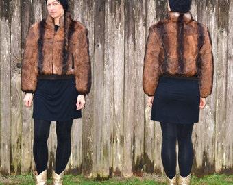 rabbit fur jacket, size small coat, fur bomber jacket, real fur jacket, brown fur jacket, FauxyFurr Vintage,  FJ10-0116ddd