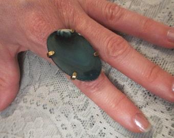 Vintage Green Slate Large Gaudy Stone Adjustable Ring