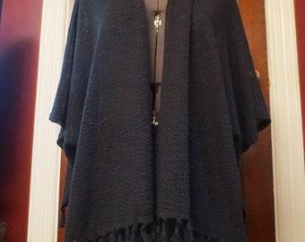 20% OFF Black Fringe Poncho Sweater Shawl S/M Witchy Gypsy Boho