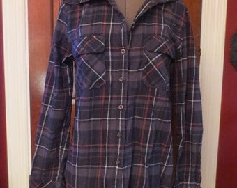 Plaid Hooded Top Hoodie Small Grunge Goth Gray Burgundy