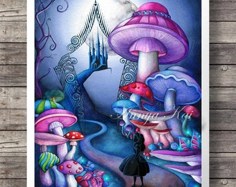 Alice in Wonderland Decor - Alice in Wonderland Wall Art - Tim Burton Dark Fantasy Painting - Alice at Iron Gates - Magic Mushroom Forest