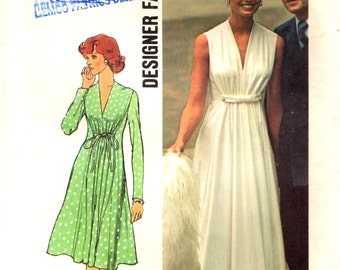 Simplicity 6672 Ethereal Designer Fashion Gown Size 12 Bust 34 - Vintage 1974