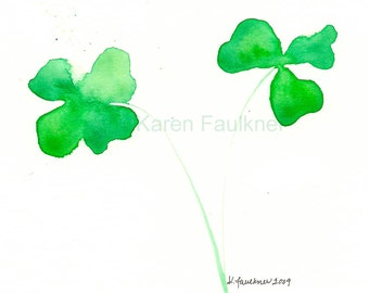 "Watercolor green clover art print: ""Lucky Shamrocks"""