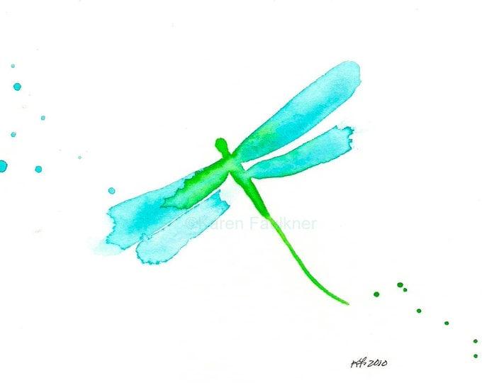 "Watercolor dragonfly art print, aqua and lime green: ""May Dragonfly"""