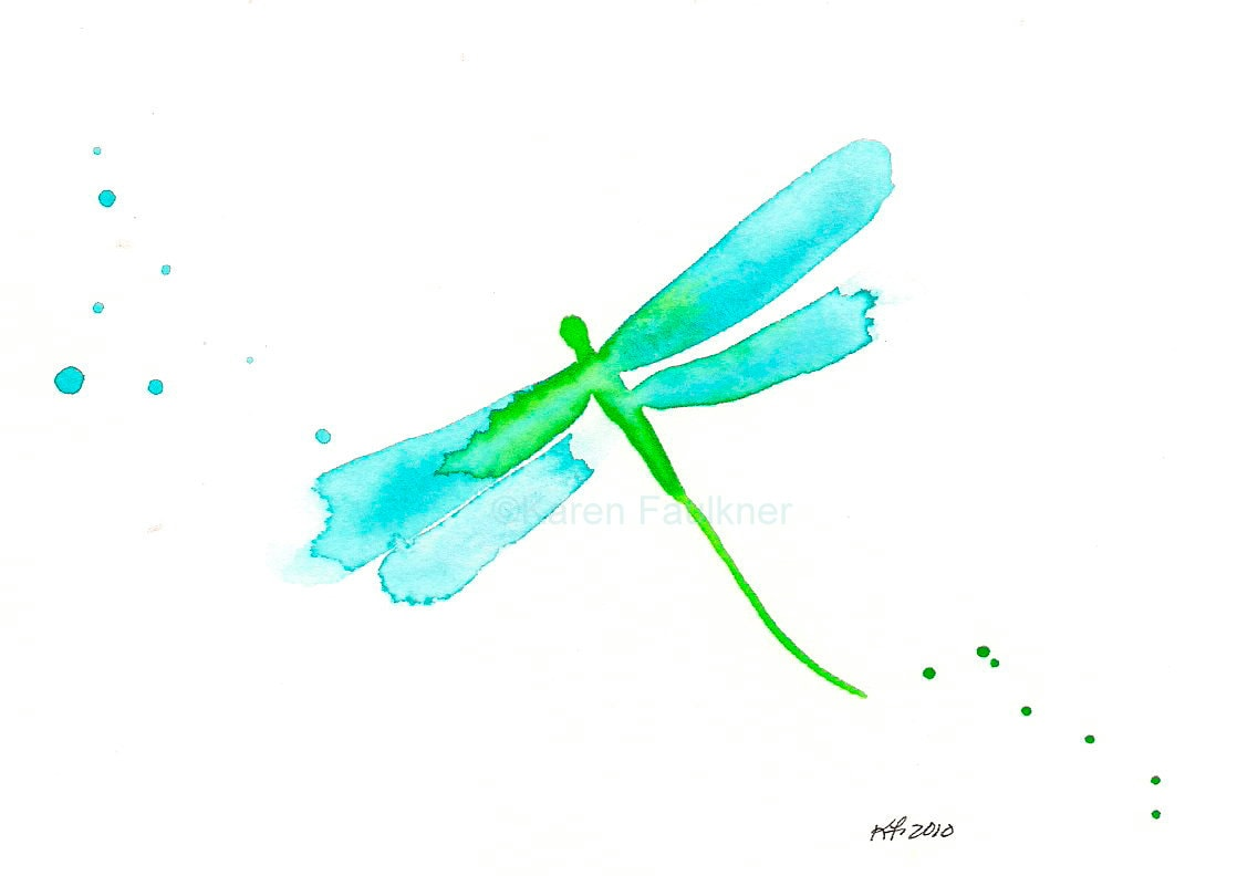 Watercolor Dragonfly Art Print Aqua And By Karenfaulknerstudio