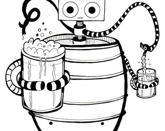 Coloring Art Print Robot #8 Beer Bot 11x17 Poster Art For You To Color and Frame with FREE Markers