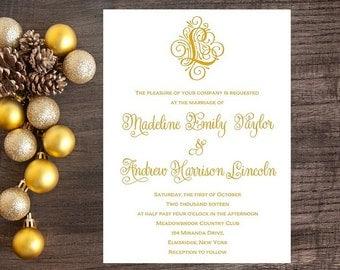 Gold Wedding Invitations - Flourish Wedding Invitation - Ornate, Flourish, Script, Gold