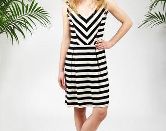 Cambria dress in black and white stripes