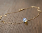 Simple and Glowing Opalite Bead Necklace - Bridesmaid Necklace with Opalite Bead that Floats Freely on a 14k Gold Fill Chain