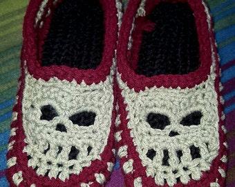 Crocheted skull slippers