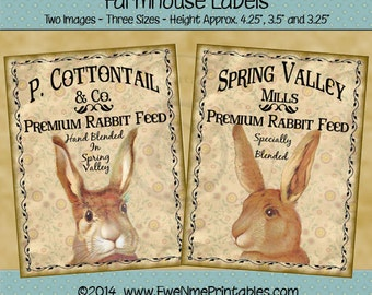 Instant Download - Printable Farmhouse Labels - Victorian Easter Rabbits - Digital PDF or JPG File