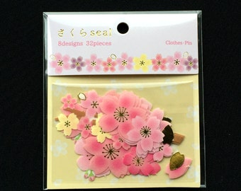 Cherry Blossom  Stickers - Chiyogami Paper Stickers - Japanese Stickers - Flower Stickers - Cherry Blossom Flakes - Sticker Flakes  (S245)