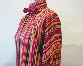 Vintage Geoffry BEENE Bowtie Blouse  size 10  Menswear Stripes 1980s Designer Top Shirt Long Sleeves Ladies Shirt