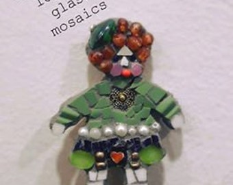 broken china mosaic irish paper doll or pin brooch miniature people kids 2 by 3 inches