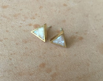 Geometric Mother of Pearl Triangle Studs