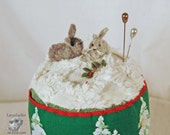 Two Felt Bunnies in a Snowy Field Pincushion with Colorful Vintage Tree Trim