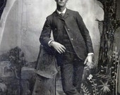 vintage photo 1900 Tall Man Tintype Amazing Painted Canvas Backdrop Tree