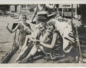 vintage photo Flapper Gals 1917 Caps Bathing Beauties Catalina Island CA