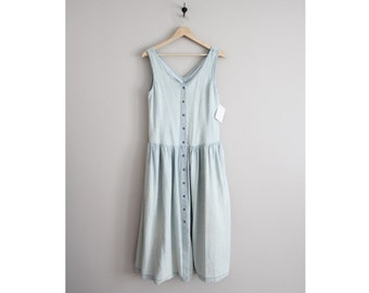 pale denim dress | vintage faded denim dress | distressed denim dress