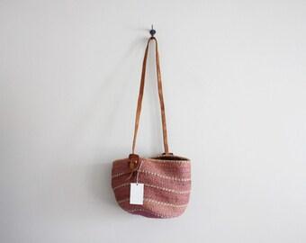 woven sisal tote | woven market bag | vintage pink sisal shoulder bag