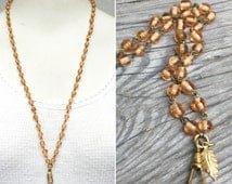 Rosary chain Lanyard. Vintage glass bead chain necklace Peach Light Amber gold.charm holder. Bulk Wholesale C134