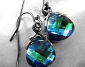 Blue Green Crystal Teardrop Earrings, Swarovski Crystal Earrings, Blue Green Crystal Earrings, Small Blue Green Black Gunmetal Earrings 6012