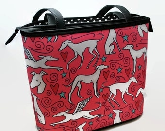 Greyhound Bucket Bag - Hound Parade - Greyhound - Pink - Black - MADE TO ORDER- Greyhound purse - Tote Bag