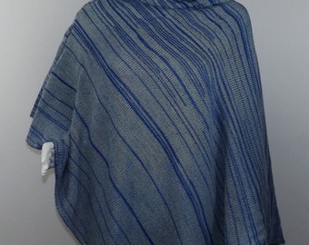 Handmade Knit Poncho - Blue and Pale Green Random Stripes