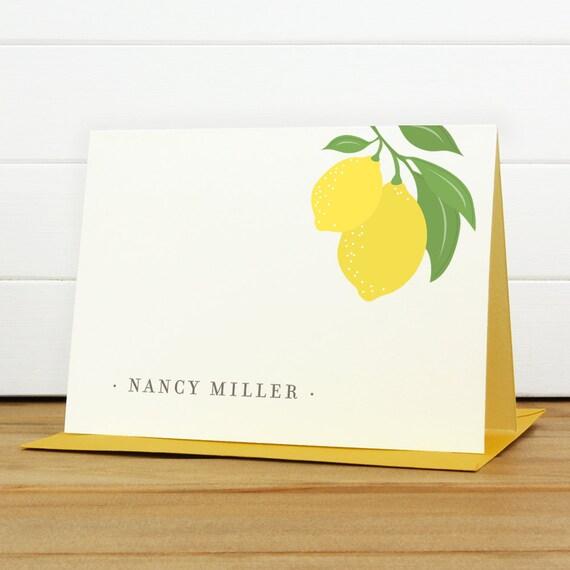 Custom Stationery / Custom Stationary - LIMONE Custom Note Card Set - Lemon Pretty Vintage
