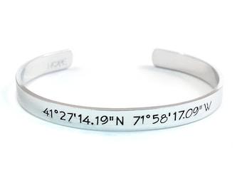 Personalized Coordinates Cuff Bracelet, Geographical Coordinates, Hand Stamped and Personalized Aluminum Cuff Bracelet