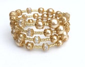 Gold Pearl and Crystal Wrap Bracelet, Champagne Bridal Jewelry, Plus Size Bracelet, Chunky Bracelet, One Size Jewelry, Wedding Gift For Her