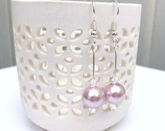 Pink Pearl Wedding Earrings, Pink & Crystal Earrings, Dangle Earring, Pearl Drop Earring, Elegant Bridal Earrings, Earrings For Bridesmaids