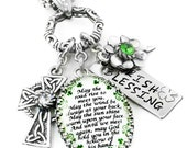 Irish Pendant - Irish Blessing Necklace - St. Patricks Day Jewelry - Celtic Cross Jewelry - Emerald Shamrocks