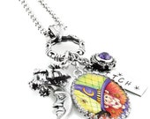 Halloween Necklace - Witch Pendant - Witch Necklace - Crescent Moon - Flying Witch - Purple Crystal