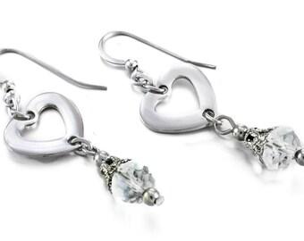 Silver Heart Earrings, Crystal Earrings, Birthstone Earrings, Hearts Earrings, Stainless Steel Earrings - Drop Earrings