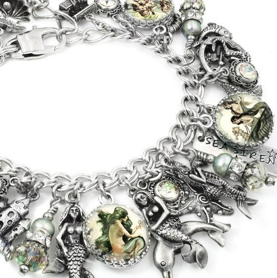 Mermaid Charm Bracelet, Mermaid Bracelet, Pirate Jewelry, Mermaid Jewelry, Ocean Bracelet, Sea foam Fresh Water Pearls