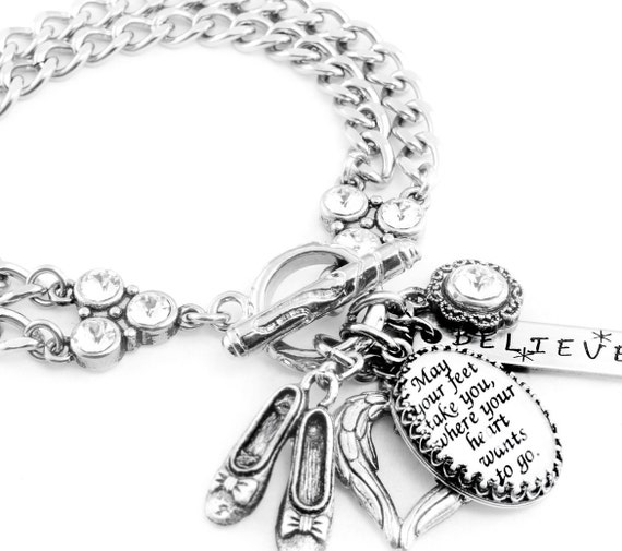 Inspirational Bracelet, Inspirational Jewelry, Stainless Steel Charm Bracelet, May your feet take you....