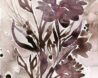 """Abstract Flower Watercolor Painting, red, brown floral art, plant, nature, blooms, """"Organic Impressions 115"""" Kathy Morton Stanion EBSQ"""