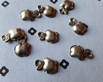 Antiqued Silver Tiny apple Charms (10)